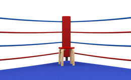 Boxing ring red corner with chair Stock Image