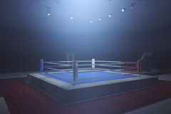 Boxing ring. Side view of boxing ring in misty interior with spotight. Surrounded with ropes. 3D Rendering Royalty Free Stock Photography