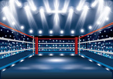 Boxing Ring with Spotlights. Vector Illustration Royalty Free Stock Images
