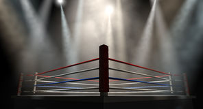 Boxing Ring Spotlit Dark. A regular boxing ring surrounded by ropes spotlit by various lights on an  dark background Stock Image