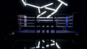 Boxing ring and two chairs with table dark background. View of a regular boxing ring surrounded by blue ropes spotlit by. A spotlight. Light show around the stock video footage