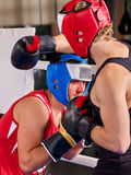 Boxing ring with two men boxer. Man engage martial arts. Royalty Free Stock Images