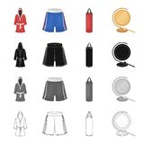 A boxing robe and panties, a training punching bag, a gong. Boxing set collection icons in cartoon black monochrome Royalty Free Stock Photo