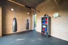 Boxing room mini gym for exercise Stock Photo