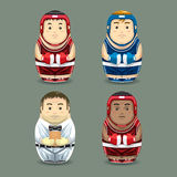 Boxing russian dolls. Vector illustration Stock Photography