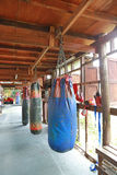Boxing sand bags hanging Stock Photo