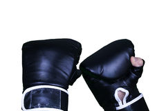 Boxing scene with black leather gloves Royalty Free Stock Image