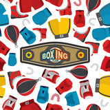 Boxing Seamless Pattern, sports background. Boxing equipment: gl. Oves and helmet. Vector illustration Stock Images
