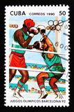 Boxing, series devoted to the 25th summer Olympic games in Barcelona 1992, circa 1990 Stock Photography