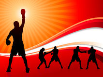 Boxing Set on Abstract Red Background Stock Photos
