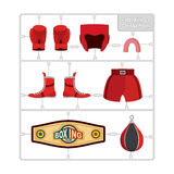 Boxing set. Collection champion. Gloves and protective helmet. S. Ports shorts and cap. punching bag and winner belt. Plastic Model kit Royalty Free Stock Images