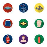 Boxing set icons in flat style. Big collection of boxing vector symbol stock illustration Royalty Free Stock Images