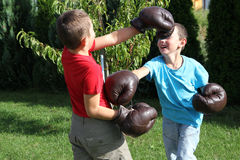 Boxing sibling Stock Photography