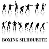 Boxing Silhouette Fighting pose and punch. The Boxing Silhouette Fighting pose and punch Stock Image