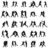 Boxing silhouette set Royalty Free Stock Photo