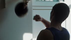 Boxing speed punching bag stock footage