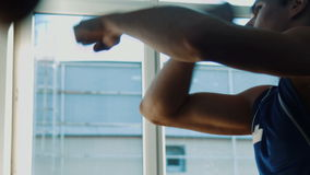 Boxing speed punching bag stock video