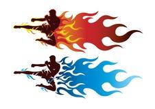 Boxing sport with fire. Boxing sport with fire logo Royalty Free Stock Photo