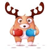 Boxing, sport illustration. Crazy deer illustration. royalty free illustration