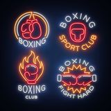 Boxing Sports Club set of logos in a neon style, vector illustration. Collection of neon signs, emblems, symbols for a Royalty Free Stock Photography