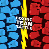 Boxing team battle. Blue and Red boxing gloves. Vector illustrat Stock Photo