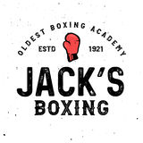 Boxing themed retro logo templates in vintage style with grunge effect. Royalty Free Stock Photo