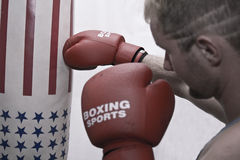 Boxing to the sacks 05 Royalty Free Stock Photography
