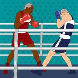 Boxing tournament. Two boxers are fight in professional boxing m. Atch. On the ring are caucasian and african american fighters. Realistic vector illustration Stock Image