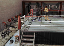 Boxing training. Interior of a boxing club. Two men  train  on the ring with their helmet protection Stock Photography