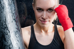 Boxing training blond woman sparring Stock Image