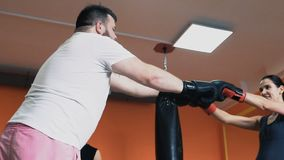 Boxing training. Fat man and slim girl greet each other in gloves. Personal coach. Individual weight loss drills in Gym stock footage