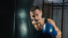Boxing training. Portrait of a boxer: who trains. Boxing training. Close up of a boxer: who trains stock video