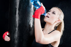 Boxing training woman drink water punch punching Royalty Free Stock Image