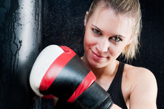 Boxing training woman with gloves in gym Stock Image