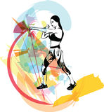 Boxing training woman in gym. Vector illustration Stock Photo
