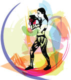 Boxing training woman in gym wear gloves. Vector illustration Stock Image