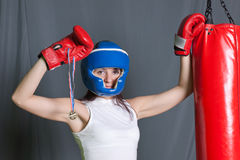 Boxing training woman with punching bag in gym Stock Photo