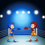 Boxing. Two boxers boxing in the arena Royalty Free Stock Images