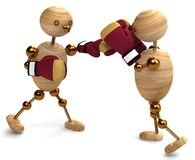 Boxing of two wood mans Stock Image