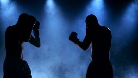 Boxing two young sportsman in a smoky studio in silhouette. Are trained a blow, dressed in sportswear special shorts and comfortable shoes, shapes the strong stock video