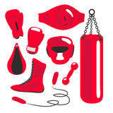 Boxing vector design elements. Fighting and boxing equipment. Bo. Xing gloves vector illustration. Boxing gym icons. punching bag Royalty Free Stock Photography