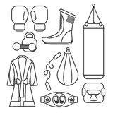 Boxing vector design elements. Fighting and boxing equipment. Bo Stock Photos