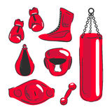 Boxing vector design elements. Fighting and boxing equipment. Bo. Xing gloves vector illustration. Boxing gym icons. punching bag Stock Images