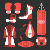 Boxing vector design elements. Fighting and boxing equipment. Bo. Xing gloves vector illustration. Boxing gym icons. punching bag Stock Photos