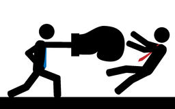 Boxing. Vector / illustration. A man is hitting his boss with a boxing glove Stock Photography