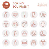 Boxing vector line icons. Punchbag, boxer gloves, ring, heavy bags, punching mitts. Sport training signs set, box Stock Photos