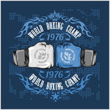 Boxing vintage vector label for poster, flyer or t Royalty Free Stock Photography