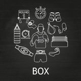 Boxing white linear icons set Stock Photography