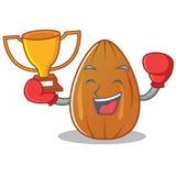 Boxing winner almond nut character cartoon Stock Photography