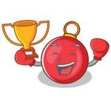 Boxing winner Christmas ball character cartoon. Vector illustration Royalty Free Stock Image